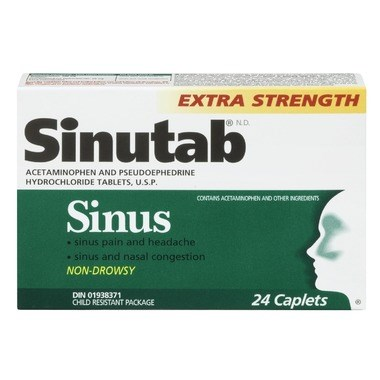 Picture of SINUTAB SINUS PAIN EXTRA STRENGHT - 24'S