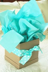 Picture of GIFT WRAPPING - GIFT BOX AND TISSUE PAPER WITH TRIMMINGS