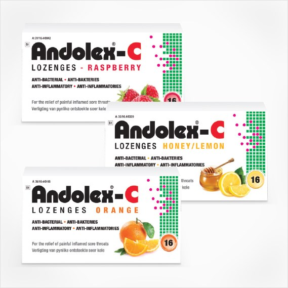 Picture of ANDOLEX C - LOZENGES - ASSORTED FLAVOURS - 16'S