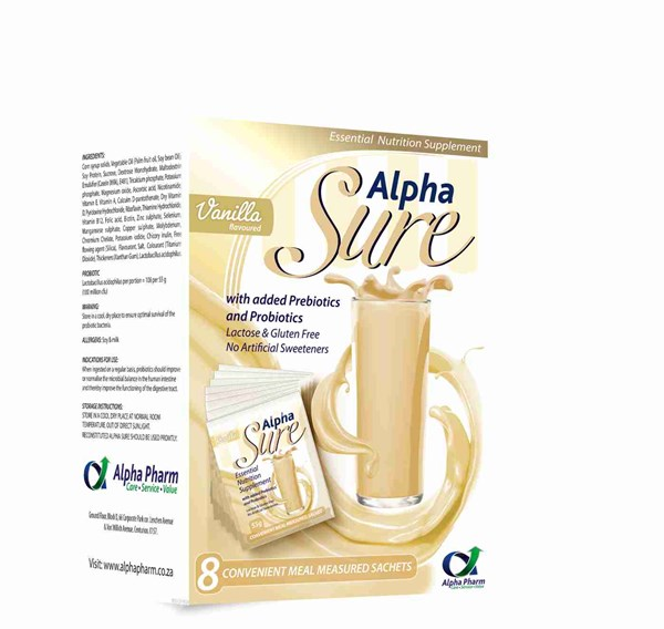 Picture of ALPHA SURE NUTRITION SUPPLEMENT - VANILLA - 8'S